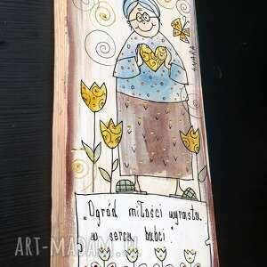unikatowe babcia deska ręcznie malowana z sentencją