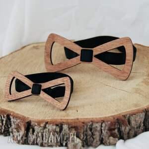 hand made muszka drewniane muszki -tata syn (zestaw)