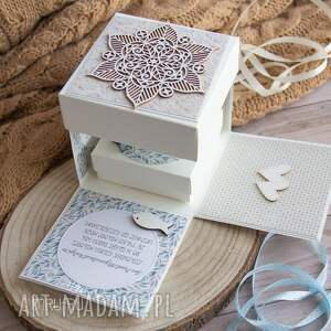 na ślub niebieskie exploding box ślubny, wyjątkowy