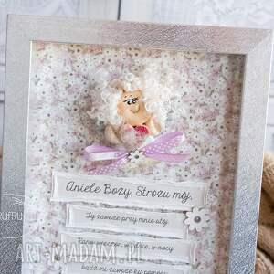 różowe roczek ramka z aniołkiem stróżem, pamiątka