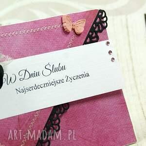 różowe albumy ślubna kartka - pink love