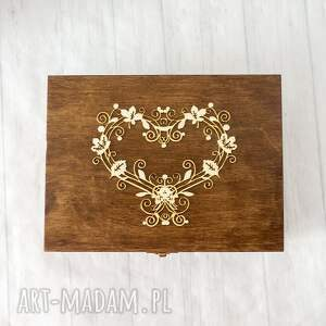 brązowe albumy drewno pudełko na zdjęcia