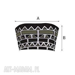 ręcznie wykonane bielizna opaska geometric bandeau khaki - top