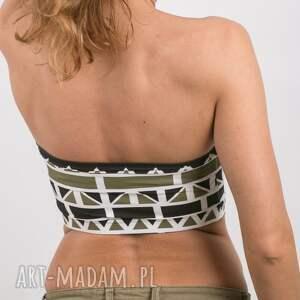 ręcznie wykonane bielizna top geometric bandeau khaki -