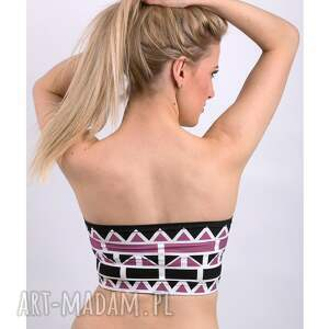 unikatowe bielizna top geometric bandeau pink - top
