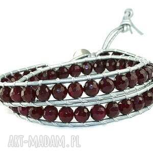 biżuteria agat snake wrap: fuksja