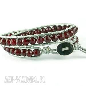 gustowne biżuteria bransoletka snake wrap: agat fuksja
