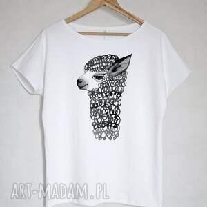 ręczne wykonanie bluzki bluzka alpaka koszulka bawełnina biała