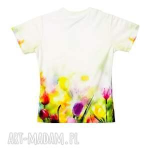 unikatowe bluzki tulipany artystyczny t-shirt damski jakość