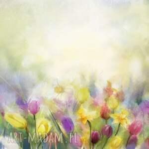 żółte bluzki tulipany artystyczny t-shirt damski jakość