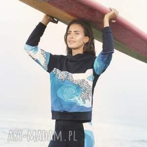 turkusowe bluzki bawełniana bluza z falą