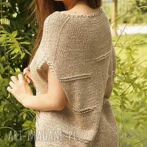 bawełna bluzki beżowa z melanżem