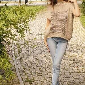 bluzki top beżowa z melanżem