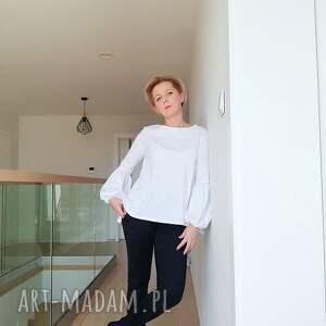 bluzki bluzka biała z bufiastymi