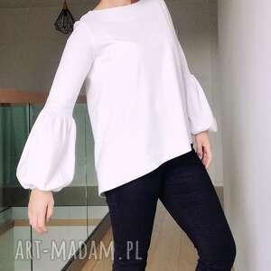 nietypowe bluzki białabluzka biała bluzka z bufiastymi