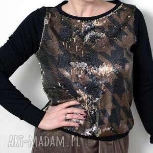 bluzki bluzka bluza damska pepitka lustrino