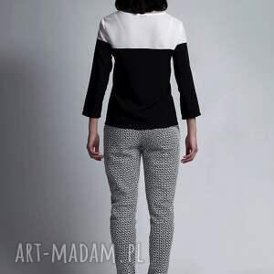 białe bluzki czarnobiały bluzka, blu117 biały/czarny