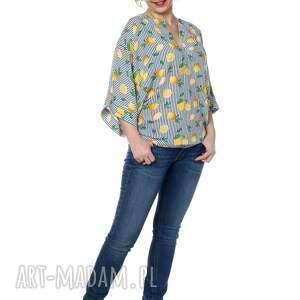 eleganckie bluzki designerska bluzka kimono, oversize, cytryny