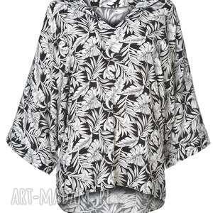 bluzki oversize bluzka kimono, motyw kwiatowy