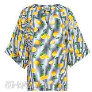 niebieskie bluzki wiosna bluzka kimono, oversize, cytryny