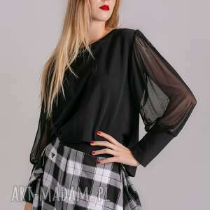bluzki bluzka klasyczna czarna rękaw