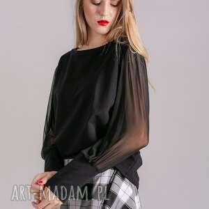 kurtki bluzki bluzka klasyczna czarna rękaw
