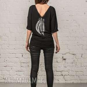 czarne bluzki bluzka pióro / nero piuma