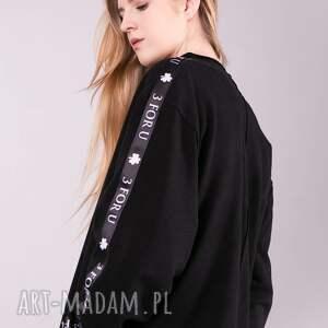 bluzki: bluzka sportowa z lampasem monica czarna - spodnie