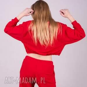 kurtki bluzki bluzka sportowa croop czerwona