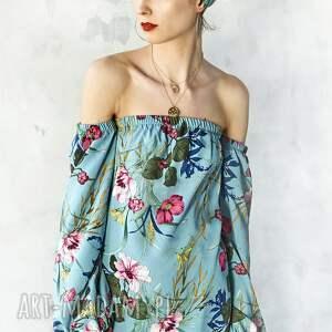 bluzki elegancka bluzka w kwiaty z odsłoniętymi