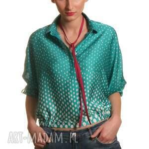 zielone bluzki kropki bluzka z kołnierzykiem bebe