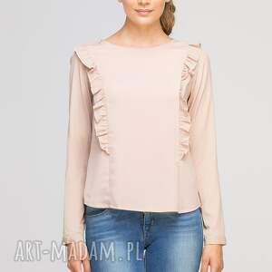 ręczne wykonanie bluzki casual bluzka z pionowymi falbanami