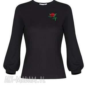 hand made bluzki bluzka z różą czarna