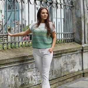 bawełniana bluzki cieniowana bluzka z zielenią