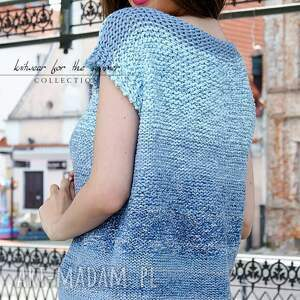 bluzki bawełniana cieniowana - niebieska