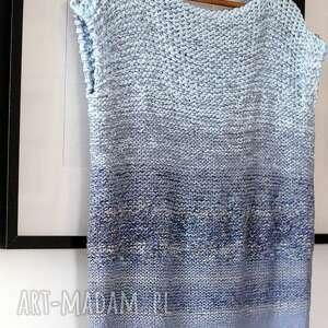 trendy bluzki bawełniana cieniowana - niebieska