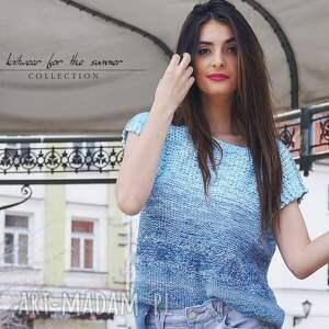 bawełniana bluzki cieniowana - niebieska