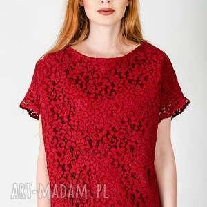 bluzki kobieca czerwona koronkowa bluzka