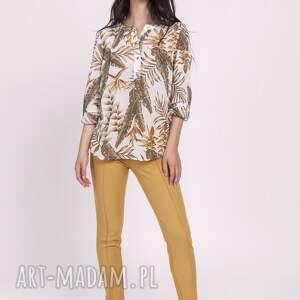 beżowe bluzki elegancka szyfonowa bluzka, blu142