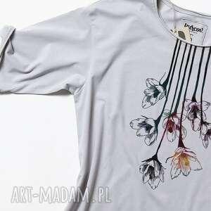 bluzki dekolt flowers koszulka szara oversize