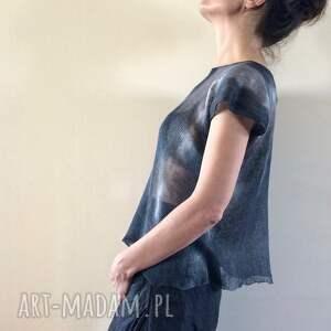 handmade bluzki grafitowa lniana bluzka top