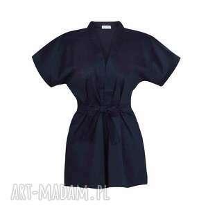 kimono bluzki brązowe kopertowa bluzka z paskiem