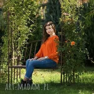 bluzka bluzki pomarańczowe karmen z marszczonym