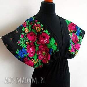 czarne bluzki bluzka kimonowa folk
