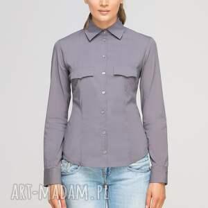 bluzki casual klasyczna koszula, k106 szary