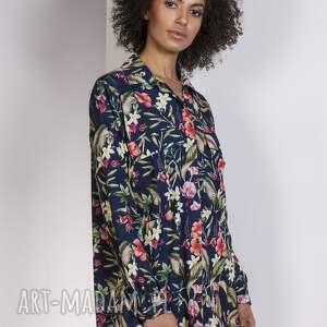 bluzki oversize koszula oversize, k108 kwiaty