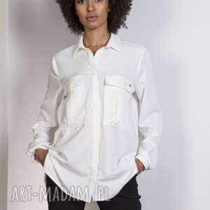 LANTI urban fashion bluzki: Koszula oversize, K108 ecru kieszenie