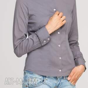 modne bluzki casual koszula z falbankami, k105 szary