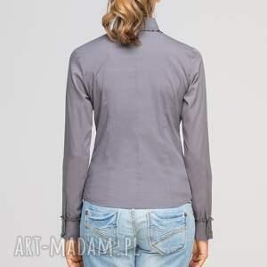 bluzki elegancka koszula z falbankami, k105 szary