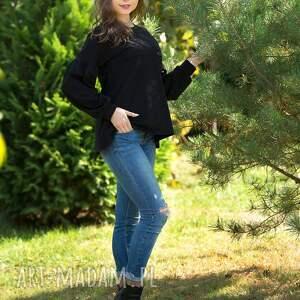 bawełna bluzki lala bluzka trapezowa z bufiastym